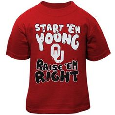 Buy Oklahoma Sooners Infant Start 'Em Young T-Shirt - Crimson from the Official Store of the Oklahoma Sooners. Oklahoma fans buy Oklahoma Sooners Infant Start 'Em Young T-Shirt - Crimson. Nebraska Football, Oklahoma Sooners, Kids Shirts, T Shirts, Cheer Shirts, School Shirts, Georgia Bulldogs Baby, Baby Bulldogs, Georgia Girls
