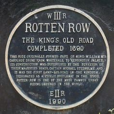 Rotten Row in London - still one of the most famous places to ride horseback in the world.