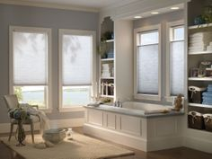 Bathroom shades- Allow natural light to fill your bathroom while providing privacy with these inch Single Cell Light filtering shades. Bathroom Window Coverings, Bathroom Windows, Honeycomb Shades, Cellular Shades, Bamboo Shades, Lowes Home, Bathroom Design Inspiration, Wood Blinds, Blinds For Windows