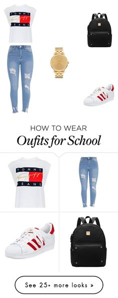 """School Outfit"" by typicalyessica on Polyvore featuring Tommy Hilfiger, adidas and Nixon"