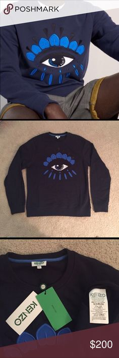 Men's Kenzo Paris Eye Sweatshirt-Midnight Blue Men's Kenzo Paris Eye Sweatshirt-Midnight Blue.  New with tags-size large.  Current style on Kenzo Website selling for $260.  This was a gift that did not fit.  Kenzo Item # F655SW0554XC. Kenzo Shirts Sweatshirts & Hoodies