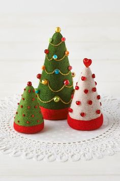 needle felted Christmas trees with beading