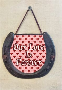 Valentine's Horseshoe Wall Hanging, Our Love Is Forever, Perfectly Aged Patina, Leather Lace Accent, Romantic Gift, Good Luck