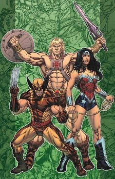 crossover: He-Man, The Wolverine and Wonder Woman.