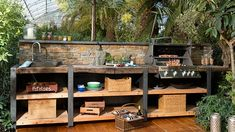 The outdoor kitchen Wood-Line XL with stone back wall Outdoor Kitchen Bars, Backyard Kitchen, Outdoor Kitchen Design, Kitchen On A Budget, Kitchen Ideas, Garden Sink, Bbq Area, Rustic Outdoor, Outdoor Cooking
