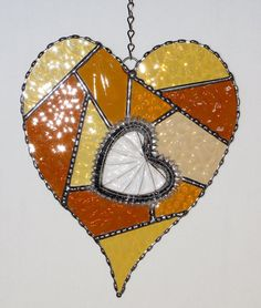 Stained Glass Suncatcher  Abstract Amber Heart by GLASSbits