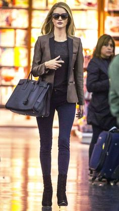 Jet-Set in Style: 39 Celebrity-Inspired Outfits to Wear on a Plane - Rosie Huntington-Whiteley from #InStyle