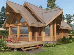 Cascade post and beam home by The Log Connection Cabin Style Homes, Tiny House Cabin, Log Cabin Homes, Cottage Homes, Dream Home Design, My Dream Home, House Design, Small Cabin Interiors, Beautiful House Plans