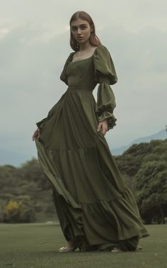 Pradera Tiered Ruffle Silk Dress by Andres Otalora Dress Outfits, Fashion Dresses, Cute Outfits, Vestidos Vintage, Vintage Dresses, Pretty Dresses, Beautiful Dresses, Looks Pinterest, Fantasy Dress