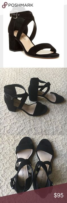 "Via Spiga ""Jobina"" black suede sandals Beautiful shoe! Crisscross style - black suede look - open toe -  block heel sandal. 2 1/2"" heel. Excellent condition only worn twice. Size 7 1/2 - Sold out in stores Via Spiga Shoes Sandals"