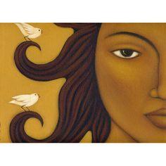 Art Print of Original Acrylic Painting - Sun Goddess & Birds - Ethnic Wall Art and Decor by Tamara Adams