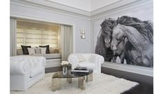 Designer: Brandes Maselli Architects, New York, NY A contemporary living room with a striking black and white portrait of two horses. The wall mural is the main focal point in this room as the furniture and home decor accessories are all neutral. Horse Mural, Horse Artwork, Horse Paintings, Horse Wall Art, Contemporary Family Rooms, Contemporary Vases, Oversized Wall Art, Equestrian Decor, Boho Home