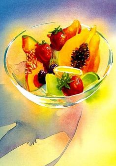 Summer Fruit by Marlies Merk Najaka. Colorful and luminous, this depiction of cut fruit in a glass bowl seems to embody the essence of summer. Gicee print on watercolor paper of an original watercolor painting. Fruit Illustration, Food Illustrations, Watercolor Pictures, Watercolor Paintings, Watercolor Classes, Watercolor Fruit, Still Life Fruit, Fruit Painting, Edible Arrangements