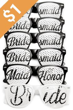 Bridal Bachelorette Party Favors Wedding Kit Bride Bridesmaid Party Sunglasses Set of 6 Pairs Go Selfie Crazy Themed Novelty Glasses for Memorable Moments Fun Photos Black White ** See this great product. (This is an affiliate link) Creative Wedding Favors, Inexpensive Wedding Favors, Cute Wedding Ideas, Wedding Party Favors, Wedding Gifts, Cheap Favors, Wedding Stuff, Selfies, Wedding Sunglasses
