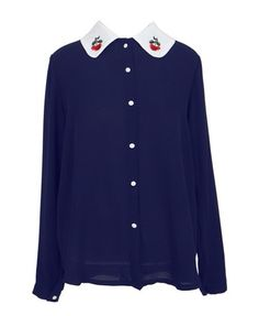 Semi-sheer Chiffon Shirt with Embroidery Collar Details