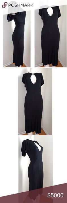 """HOLD! Figure Flattering Black Dress Gorgeous figure flattering black maxi  dress with flutter style sleeves. Keyhole in front, button closure at top of keyhole. Stretchy fabric. By Pixie. Purchased from Warner Brothers costume dept. Costume dept took out part of the garment care tag. May have been worn in PLL. Measurements: 45"""" Length, Armpit to armpit: 15"""" ( not stretched), 16"""" (stretched), Waist: 23"""" (not stretched), 26"""" (stretched). # 7081705 Pixie Dresses"""