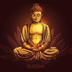 bouddha lotus: Bouddha dieu assis en position du lotus sur une fleur vecteur de croquis, illustrations Illustration