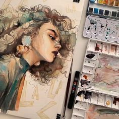 Watercolor painting by Humid Peach. Humid Peach is the name of the artist whose real name is Ksenia Kondyleva. Continue Reading and for more watercolor art → View Website Art Inspo, Inspiration Art, Watercolor Artwork, Watercolor Portraits, Watercolour, Art Sketches, Art Drawings, Art Du Croquis, L'art Du Portrait