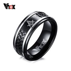 VNOX 펑크 블랙 남성 프리메이슨 반지 8 미리메터 수술 스틸 남성 반지 보석 미국 크기 7 12