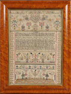548: Needlework Sampler with Shakespearean Verse, Engla : Lot 548