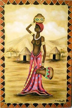 """Jovem Angolana"" por José Martinatti. African Drawings, African Art Paintings, African Artwork, Arte Tribal, Tribal Art, Africa Art, Black Artwork, Black Women Art, African American Art"