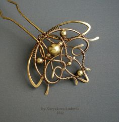 """Golden Lotus"" by Kuryakova Ludmila - love the art nouveau influence & it's execution in wire.  Lovely"