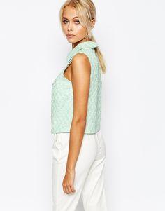 Изображение 2 из Топ из ткани букле с воротником Fashion Union