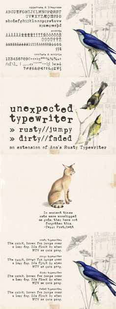 Unexpected Typewriter is a hand-drawn font based on an old Underwood typewriter, including: - A-Z