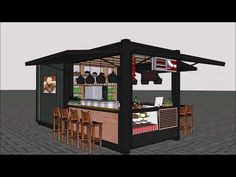 Source container restaurant pop-up shipping kiosk design p… Container Bar, Container Coffee Shop, Container House Design, Kiosk Design, Cafe Design, Signage Design, Restaurant Design, Restaurant Bar, Portable House