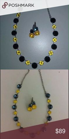 """Swarovski Crystal Necklace Earring Set New! Never worn. Handmade, beautiful Navy Blue and Gold colors. 12mm/8mm sized Swarovski Crystals. Necklace/Earring Set. Antique Silver Setting. Two-stone leverback earrings. Necklace length 16.25"""" with 3"""" extension chain. Comes in little drawstring bag. Very pretty in person. Any questions please ask. West Virginia colors! Handmade Jewelry Necklaces"""