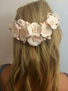 Vintage, peach, pearl, flower, crown, tiara, flower girl, flower veil, bohemian, boho, bride, bridal, princess
