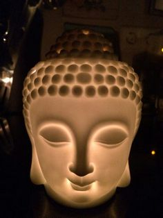 Boeddha hoofd wit ong. 15 cm Www.Candlewood.nl