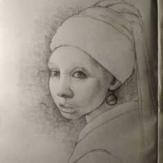 #girl with a pearl #earring #sketch #face #sketchbook  #drawing