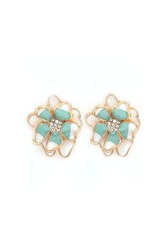 Peony Earrings in Pale Mint