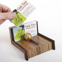 Cool-as-Marble Business Card Holder  With a few exotic scraps and a marble, you can build this eye-catching desk accent. We used zebrawood and wenge on our holder, but any two contrasting species will make this holder stand out on a desktop.  Featured in November 2012 issue of WOOD.