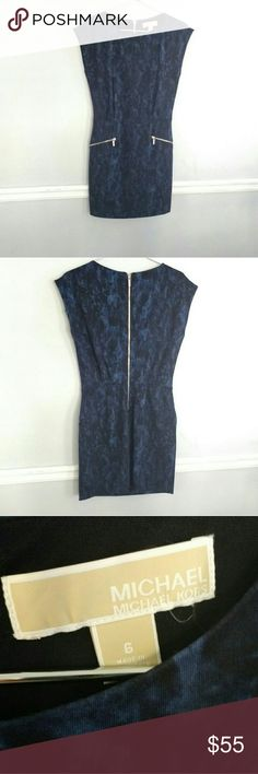 MICHAEL KORS blue/black dress Michael Kors, Blue on black dress with zipper front pockets and zipper back, silver hardware, GREAT condition!, Very strechy so if you are an 8/10 like I am it will work, I just never had chance. MICHAEL Michael Kors Dresses