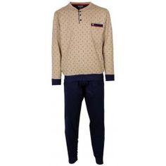 Witte en bruine streepachtige puntjes versieren de beige top bij deze heren pyjama met donkere broek