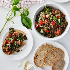 A twist on bruschetta with lentils, basil, and tomatoes!  A flavorful and filling summer dish. Vegan-friendly.