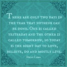 """""""There are only two days of the year that nothing can be done. One is called yesterday and the other is called tomorrow, so today is the right day to love, believe, do and mostly live."""" -Dalai Lama"""