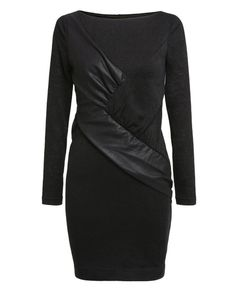 Leather-block Long Sleeves Black Knit Dress | BlackFive