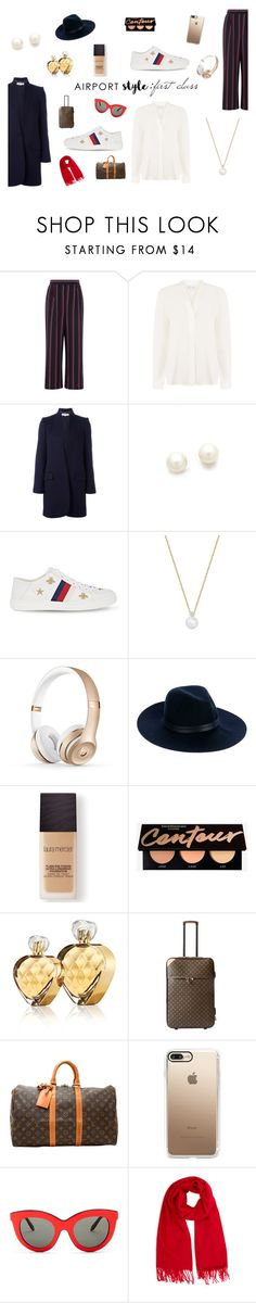"""""""Airport Style:First Class"""" by gryffindor-designer ❤ liked on Polyvore featuring Warehouse, STELLA McCARTNEY, Kenneth Jay Lane, Gucci, Birks, rag & bone, Laura Mercier, Untold, Louis Vuitton and Casetify"""
