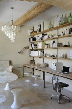 Open office / bookcase - rustic with a bit of umph