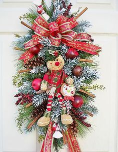 GINGERBREAD GIRL WITH CINNAMON STICKS~SWAG~WREATH ALTERNATIVE~CHRISTMAS~HOLIDAY~