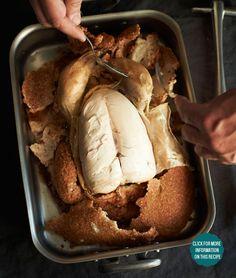 Salt-Roasted Chicken  Christian Domschitz, chef de cuisine at Vestibül, locks in the chicken's flavor and moisture under a simple crust made with kosher salt and egg whites