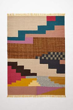 Quilt or pillow inspiration. Fringed Cusco Rug - anthropologie.com