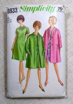 Princess Seam Dress & Matching Coat - Vintage Pattern Simplicity 6933 - Bust 36 by ErikawithaK on Etsy Coat Pattern Sewing, Coat Patterns, Pattern Dress, Vintage Dresses, Vintage Outfits, Vintage Fashion, Fifties Fashion, Simplicity Sewing Patterns, Vintage Sewing Patterns