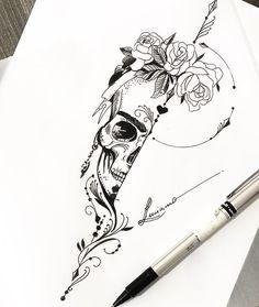 30 Most Creative Tattoos Of 2019 – Tattoo Sketches & Tattoo Drawings Stencils Tatuagem, Tattoo Stencils, Tattoo Sketches, Tattoo Drawings, Art Sketches, Pen Sketch, Skull Tattoo Design, Tattoo Designs, Floral Skull Tattoos