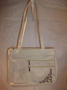 Unbranded Handbag Purse Multiple Zip Compartments Beige Brown Design Beaded #Unbranded #ShoulderBag #handbag #purse #accessory #accessories #fashion #onlinestore #onlineshopping #ebay