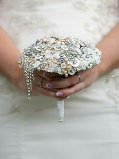 Design by DJ Bouquets...♥ Joanna's beautiful all white jewelled bouquet