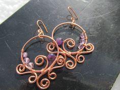 Purple Amethyst Copper Wire Earrings Violet Beaded by TheHempChick, $30.00